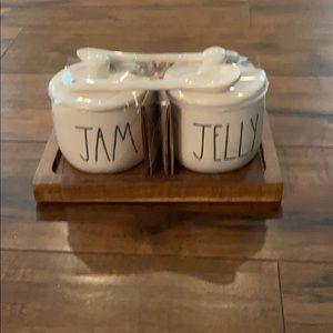 Rae Dunn jam and jelly set little spoon wood tray.